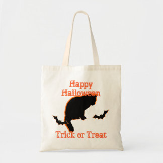 black cat customizable trick or treat halloween tote bag
