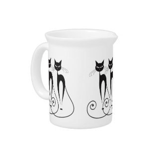 Black cat cute funny triplet pitcher