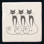 """Black cat cute funny triplet stone coaster<br><div class=""""desc"""">The silhouette of cats with big eyes and long swirling tails are sitting side by side. These pet lovers gifts are ideal for mothers,  ladies,  girls and as stocking stuffers</div>"""