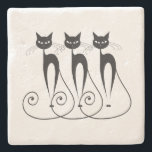 "Black cat cute funny triplet stone coaster<br><div class=""desc"">The silhouette of cats with big eyes and long swirling tails are sitting side by side. These pet lovers gifts are ideal for mothers,  ladies,  girls and as stocking stuffers</div>"