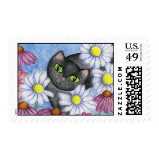 Black Cat Daisy Postage Stamp