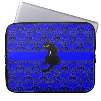 BLACK CAT DAMASK black blue Laptop Sleeve