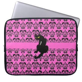 BLACK CAT DAMASK black purple Laptop Sleeve