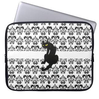 BLACK CAT DAMASK black white Computer Sleeve