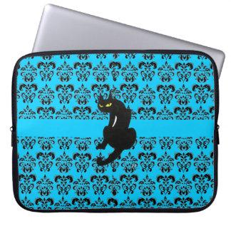BLACK CAT DAMASK blue black Computer Sleeve