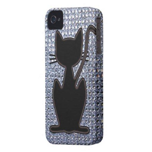 black cat diamond studs iPhone 4 Case-Mate cases