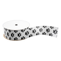 Black Cat/Dog/Animal Paw Prints on White Grosgrain Ribbon