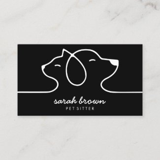 Black Cat Dog Line Logo Petsitter Business Card