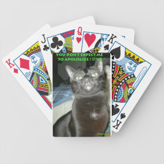 BLACK CAT , DON'T EXPECT ME TO APOLOGIZE BICYCLE PLAYING CARDS