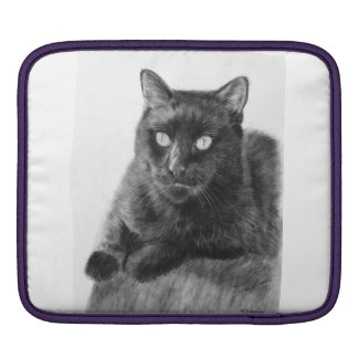 Black Cat Drawing Sleeve For iPads