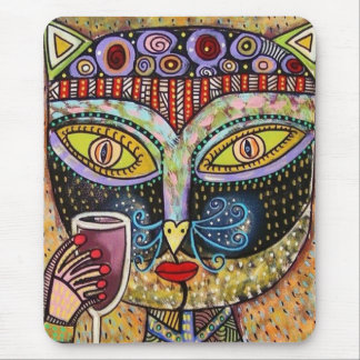Black Cat Drinking Red Wine Mouse Pad