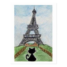 Black Cat Eiffel Tower Watercolour postcard