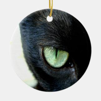 Black Cat Eye Ceramic Ornament
