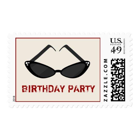 Black Cat Eye Sunglasses Birthday Party Postage