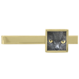 Black Cat Eyes Gold Finish Tie Clip