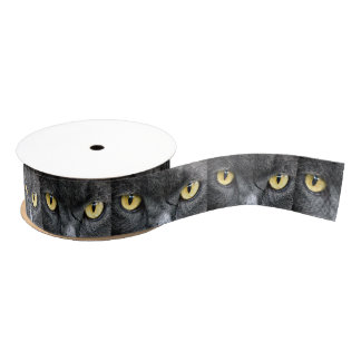 Black Cat Eyes Grosgrain Ribbon
