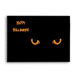 Black Cat Eyes Halloween Party Envelopes
