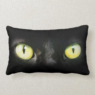 Black Cat Eyes Spooky Halloween Lumbar Pillow