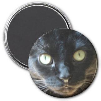 Black Cat Face 3 Inch Round Magnet