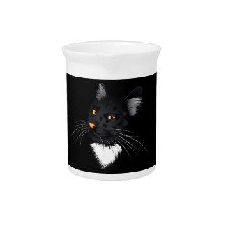 Black cat face 3 beverage pitcher