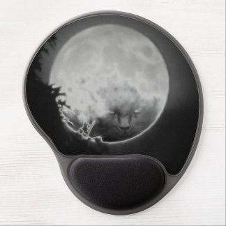 Black Cat Face and The Full Moon Gel Mouse Pad