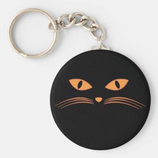 Black Cat Face Basic Round Button Keychain
