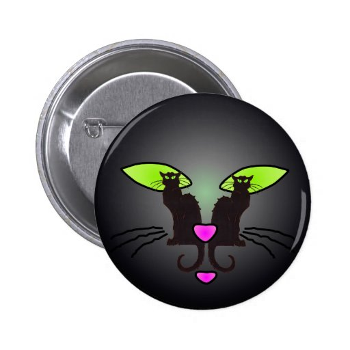BLACK CAT FACE by SHARON SHARPE Button