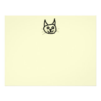 "Black cat face cartoon. On Cream. 8.5"" X 11"" Flyer"