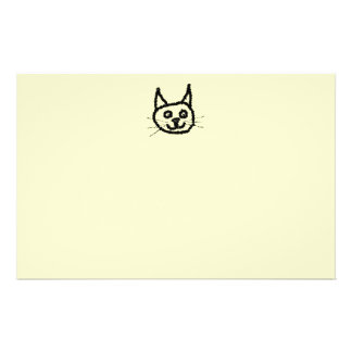 Black cat face cartoon. On Cream. Personalized Flyer