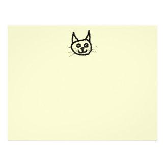 Black cat face cartoon. On Cream. Flyer