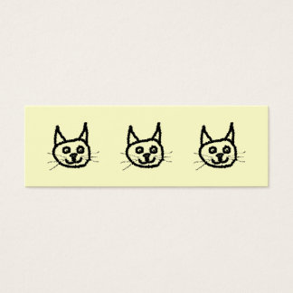 Black cat face cartoon. On Cream. Mini Business Card