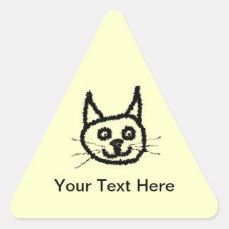 Black cat face cartoon. On Cream. Triangle Sticker