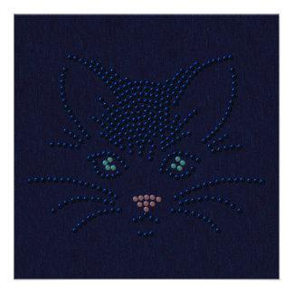 Black Cat Face Custom Invite