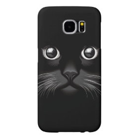 Black Cat Face Eyes Samsung Galaxy S6 Cases