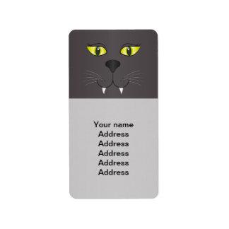 Black Cat Face Address Label