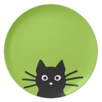 Black Cat Face on Green (Color is Customizable) Melamine Plate