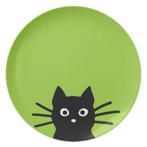 Black Cat Face on Green (Color is Customizable) Plates