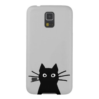 Black Cat Face on Grey (Color is Customizable) Galaxy S5 Cover
