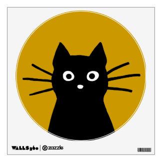 Black Cat Face on Mustard Yellow (Customizable) Wall Sticker