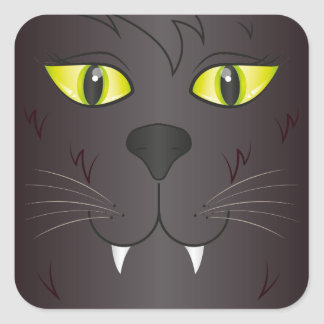 Black Cat Face Square Sticker