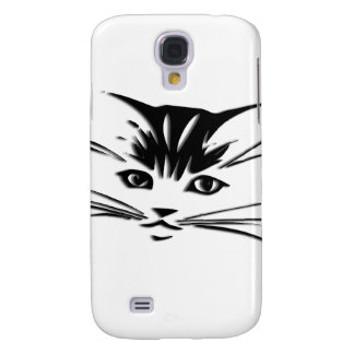 Black Cat Face White Galaxy S4 Cover