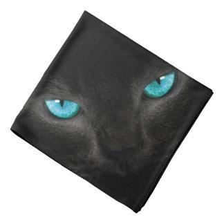 Black Cat Face with Turquoise Eyes Bandana