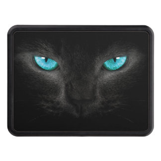 Black Cat Face with Turquoise Eyes Hitch Cover