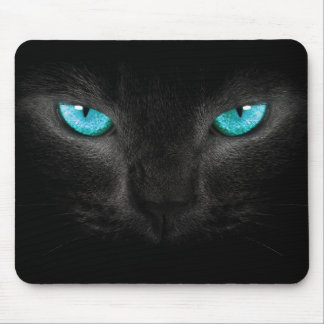 Black Cat Face with Turquoise Eyes Mouse Pad