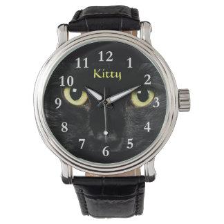 Black Cat Face Wrist Watch Black Vintage Leather