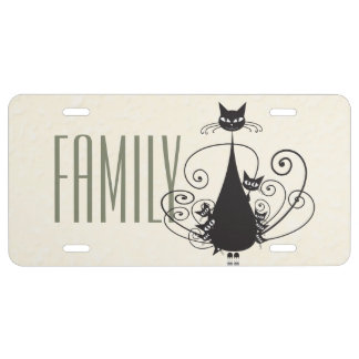 Black Cat Family 4 - License Plate Cover