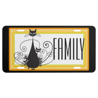 Black Cat Family - License Plate Cover