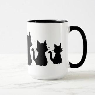 Black Cat Family Silhouettes Mug