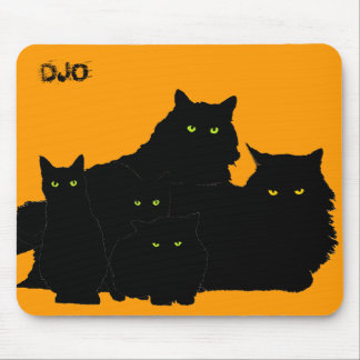 Black Cat Family two Mouse Pad