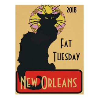 Black Cat, Fat Tuesday, edit text Poster
